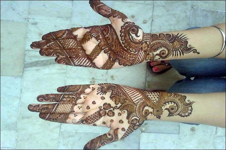Peacock Arabic Mehnedi designs