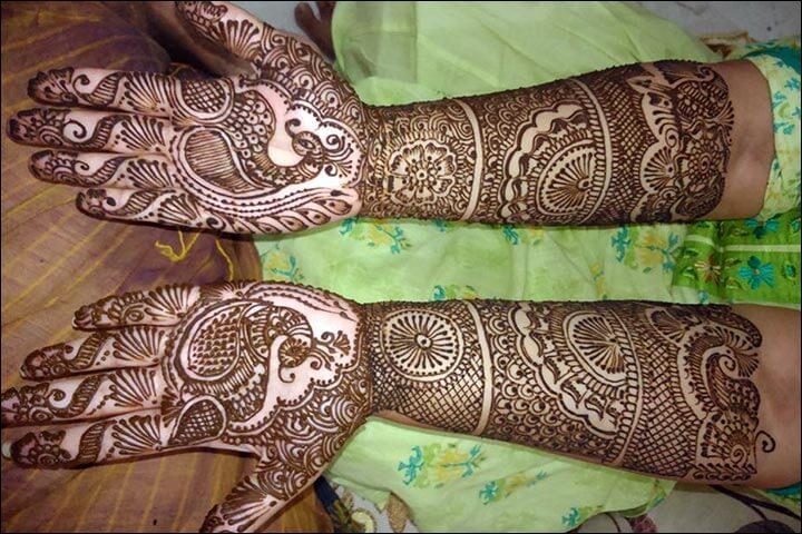 Wedding Peacock Arabic Mehnedi designs